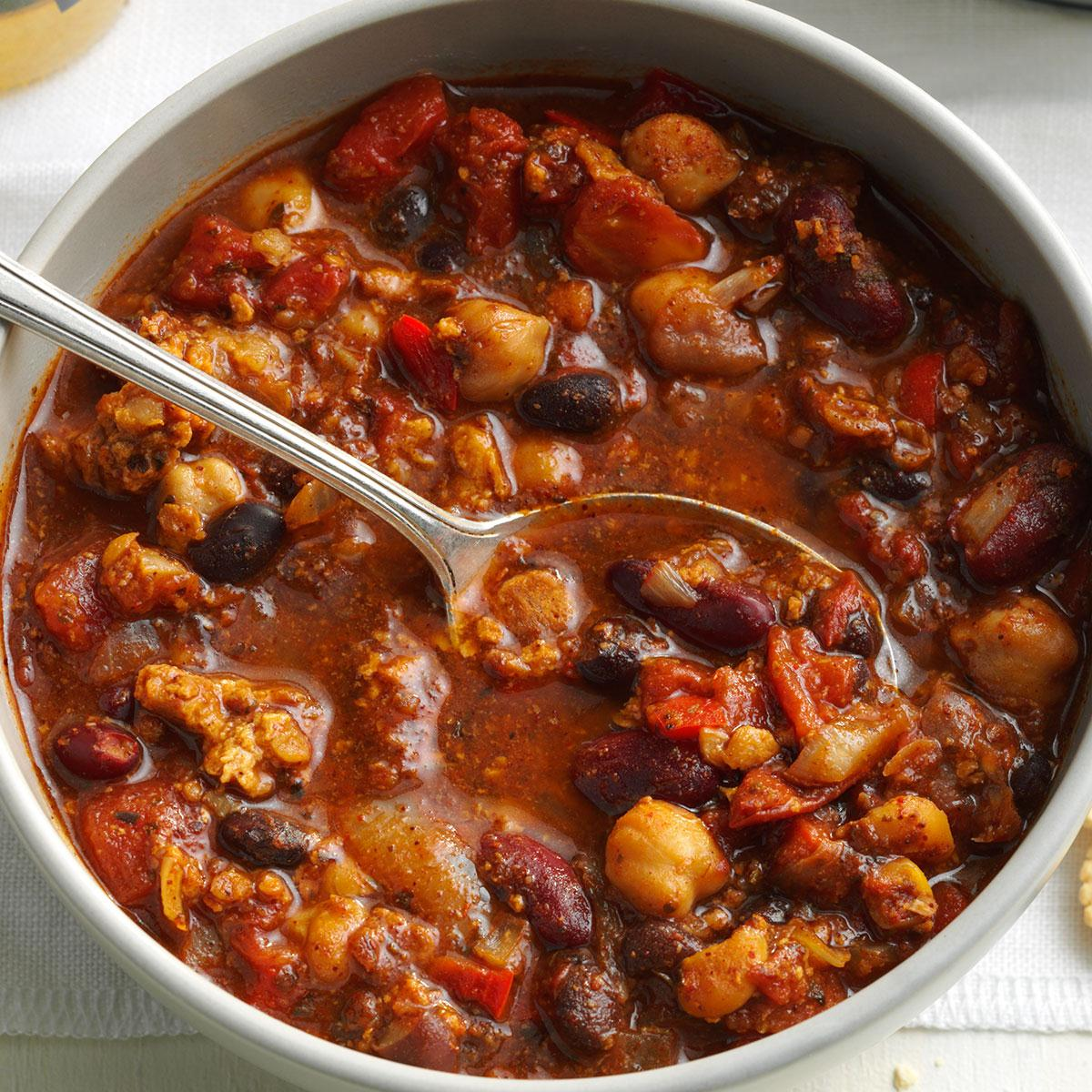 Marty S Bean Burger Chili Recipe How To Make It Taste Of Home
