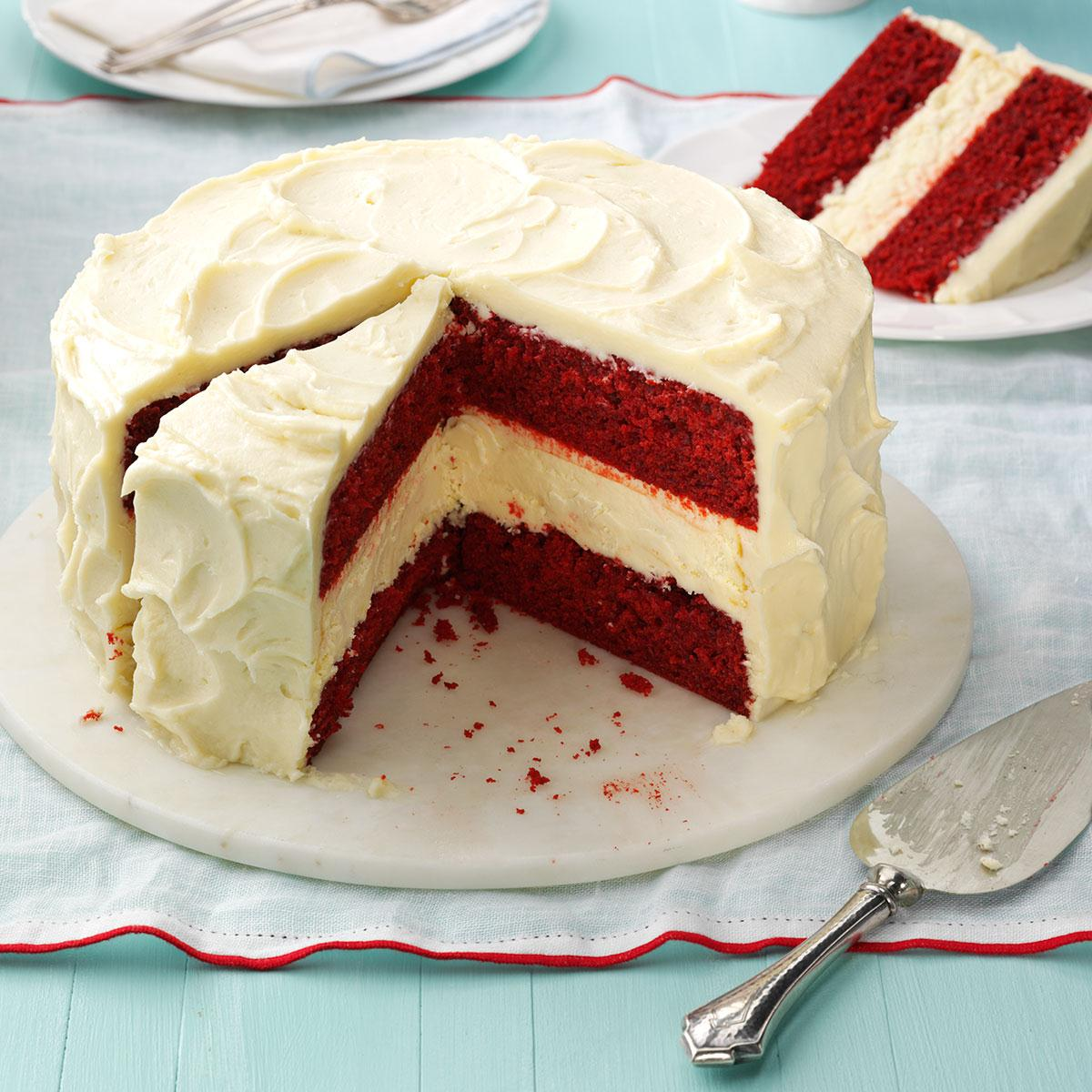 Strange Cheesecake Layered Red Velvet Cake Recipe Taste Of Home Funny Birthday Cards Online Alyptdamsfinfo