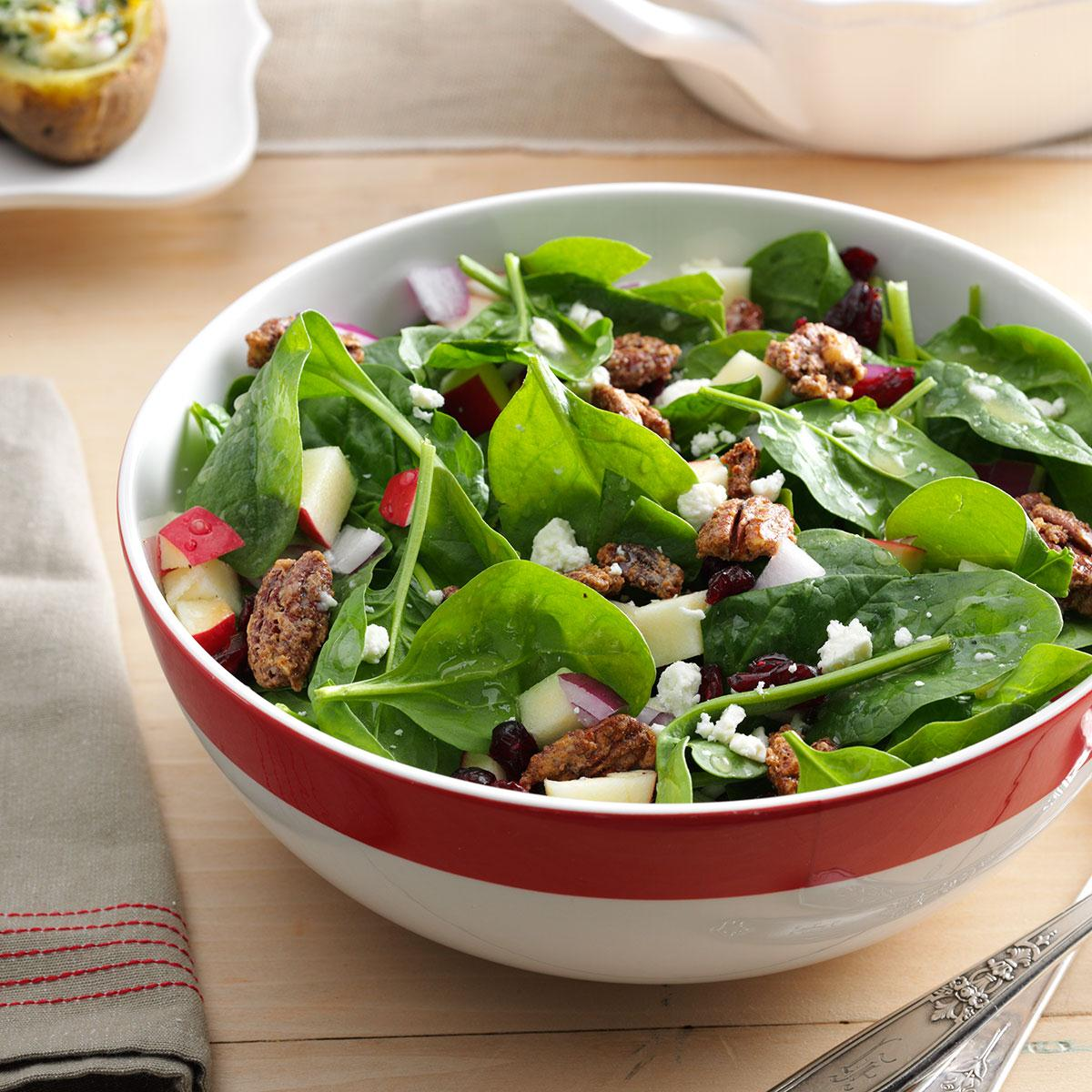 Spinach Apple Pecan Salad Recipe How To Make It Taste Of Home