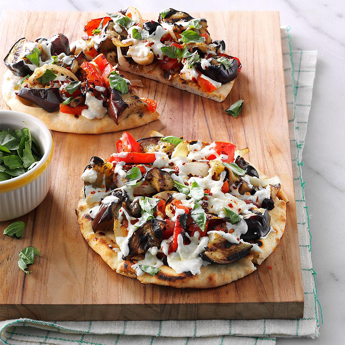 Grilled Eggplant Pita Pizzas image