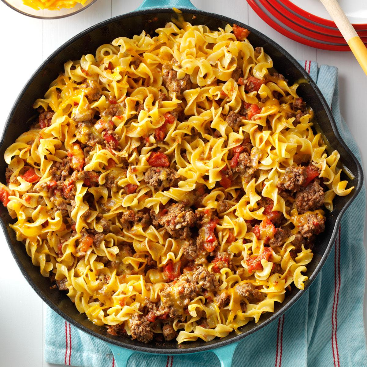 Chili Beef Noodle Skillet Recipe How To Make It Taste Of Home