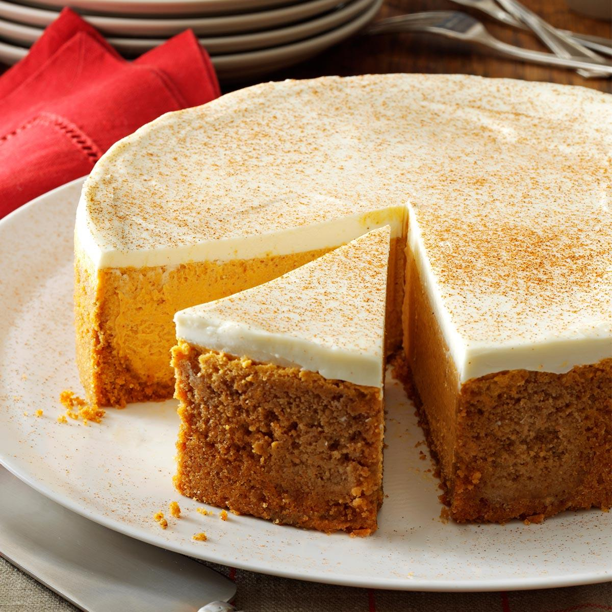 Pumpkin Cheesecake With Sour Cream Topping Recipe How To Make It Taste Of Home