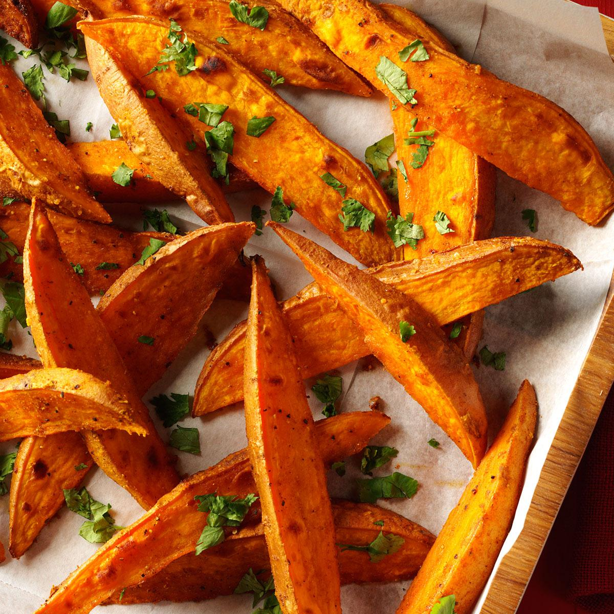 Curried Sweet Potato Wedges Recipe How To Make It Taste Of Home