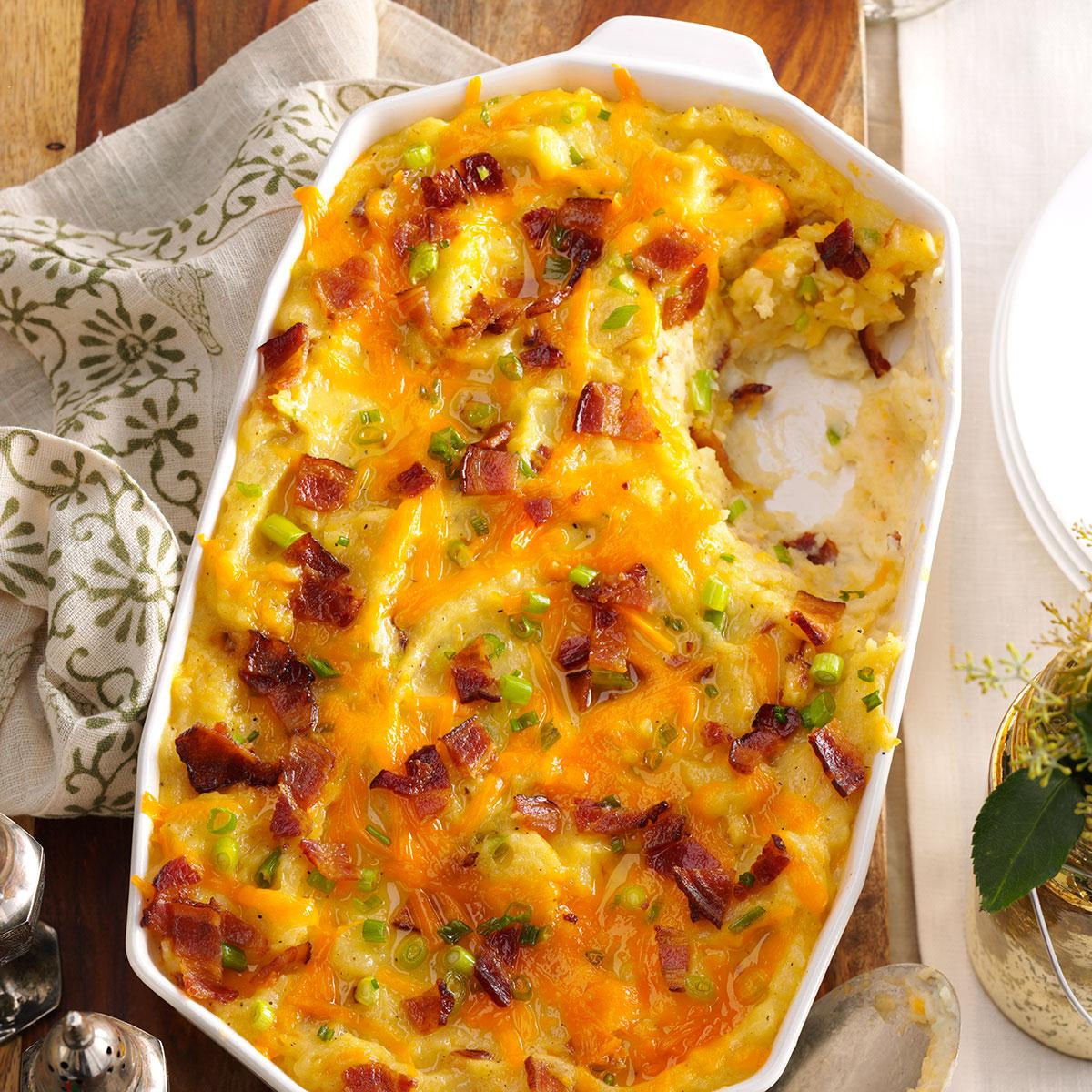 Twice Baked Cheddar Potato Casserole Recipe How To Make It Taste Of Home