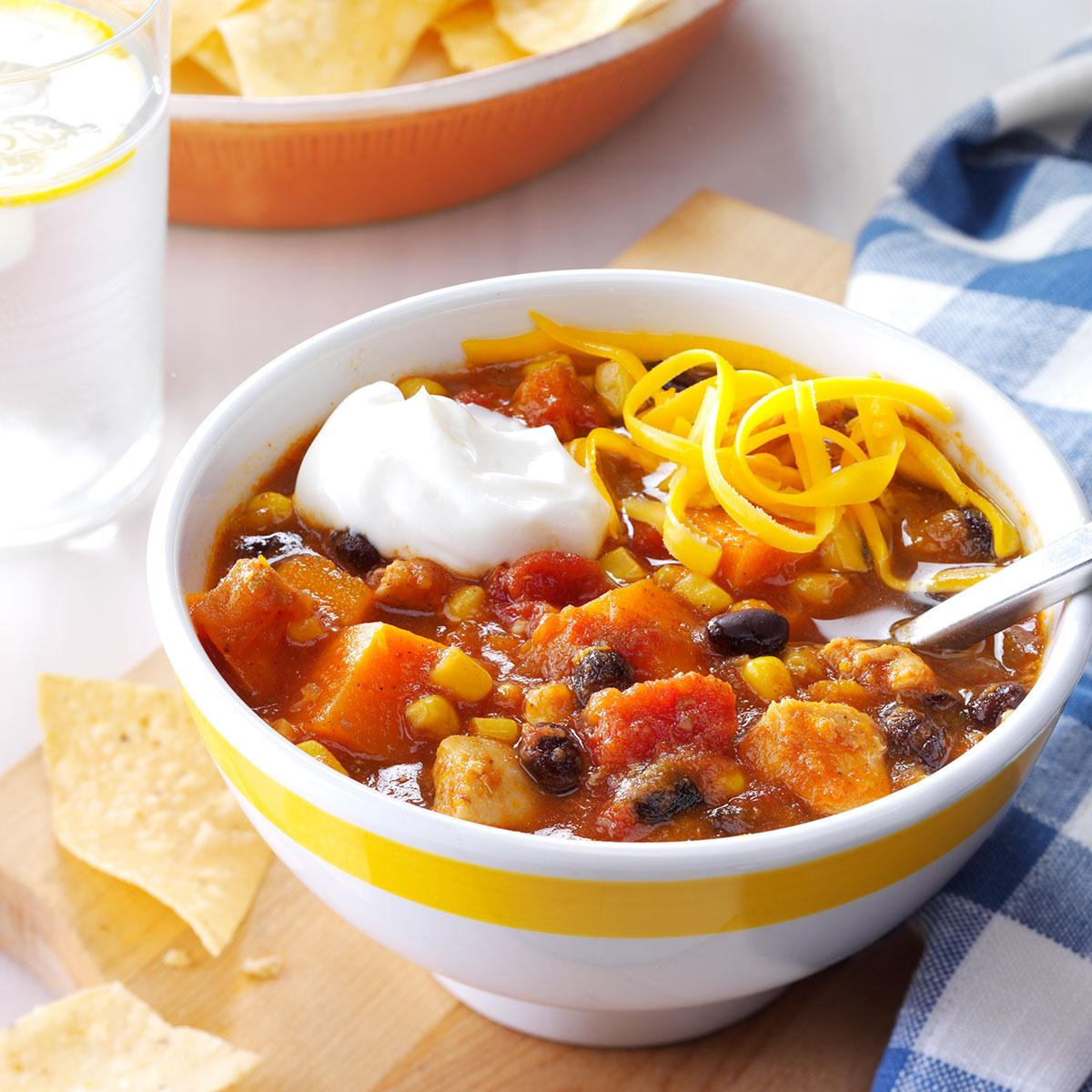 Slow Cooker Chicken Sweet Potato Chili Recipe How To Make It Taste Of Home