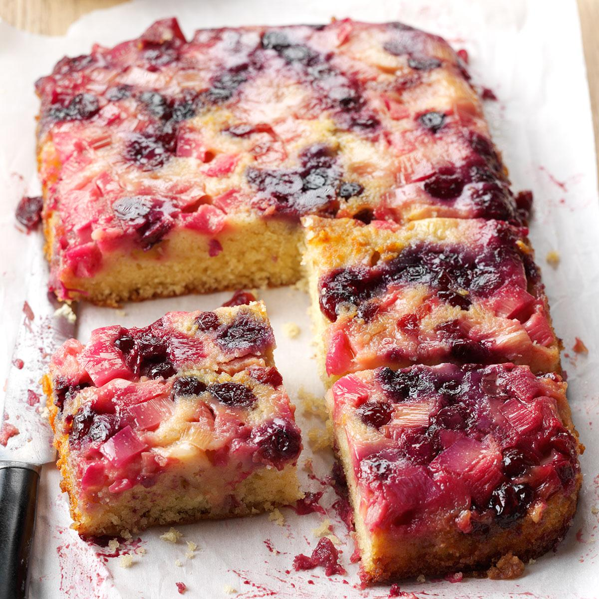 Rhubarb Berry Upside Down Cake Recipe How To Make It Taste Of Home