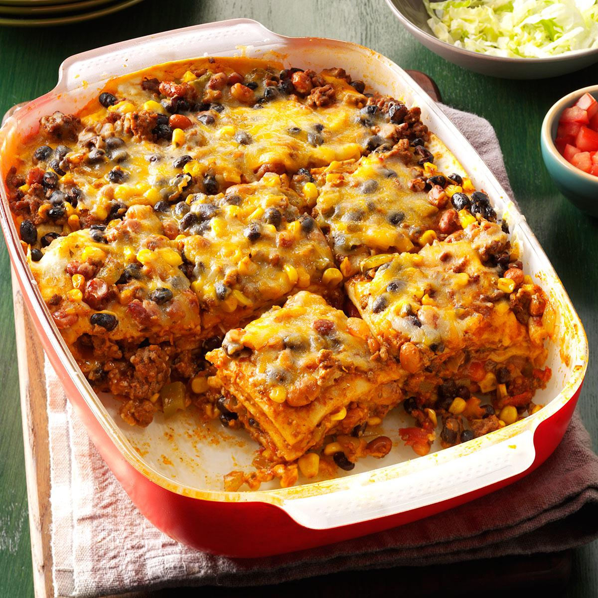 Double Duty Layered Enchilada Casserole Recipe How To Make It Taste Of Home