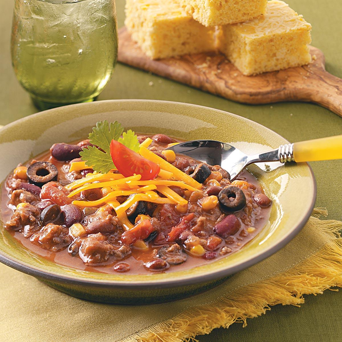Three Bean Taco Chili Recipe How To Make It Taste Of Home