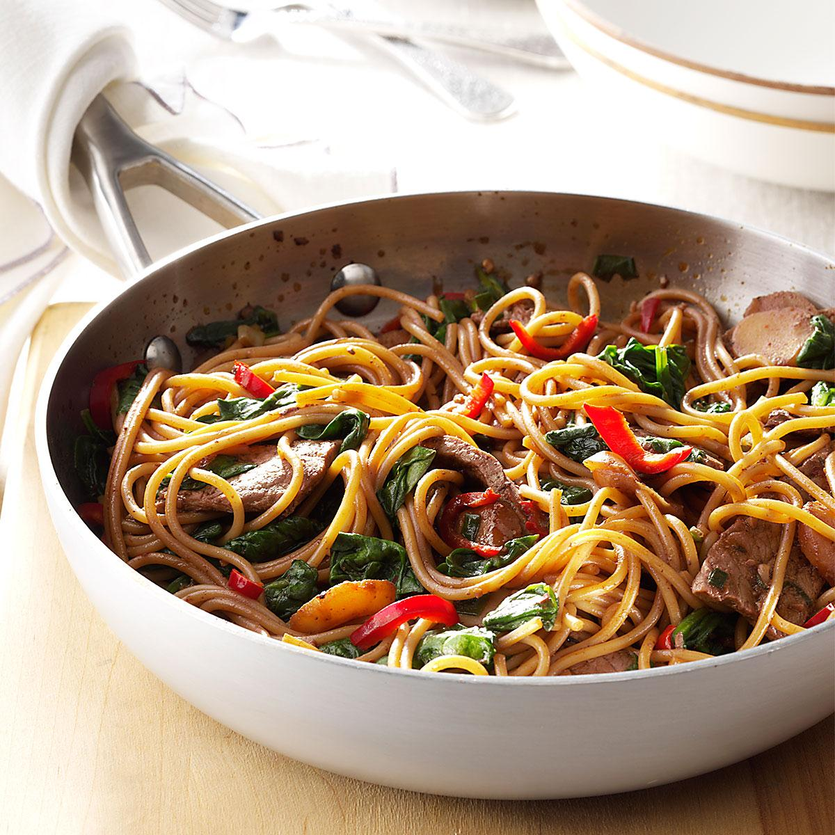 Beef Spinach Lo Mein Recipe How To Make It Taste Of Home