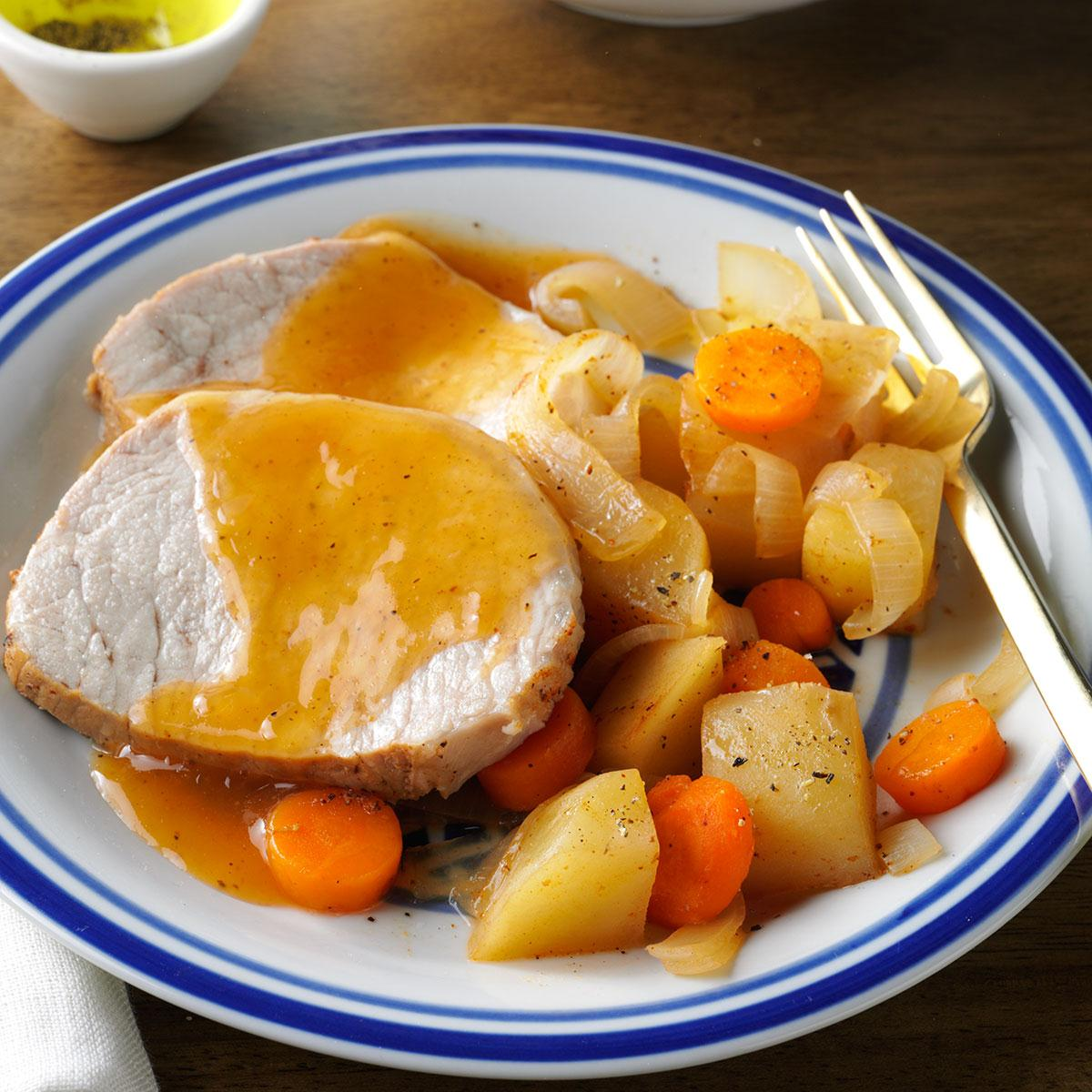 Slow Cooked Pork Roast Dinner Recipe How To Make It Taste Of Home