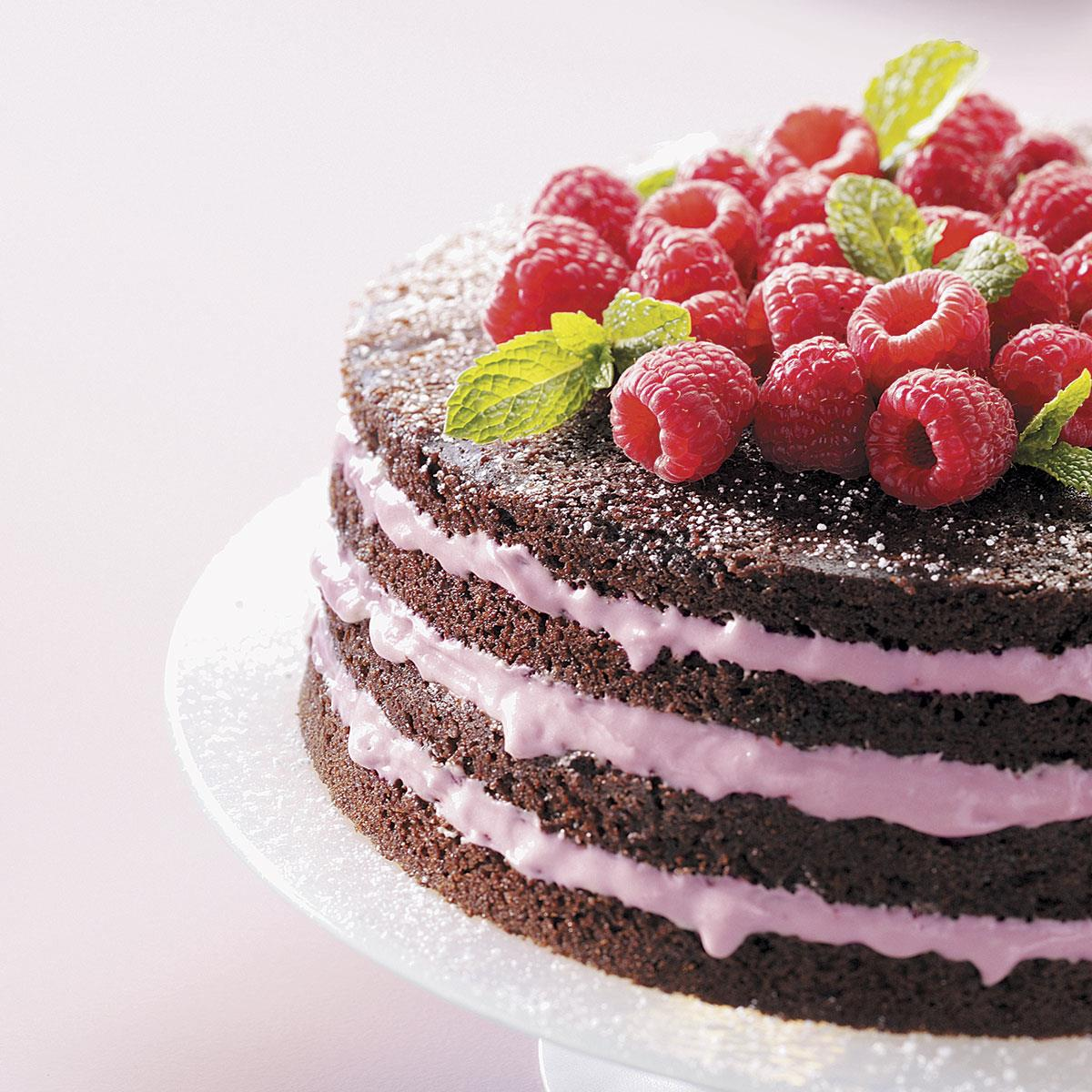 Light Chocolate Torte With Raspberry Filling Recipe How To Make It Taste Of Home