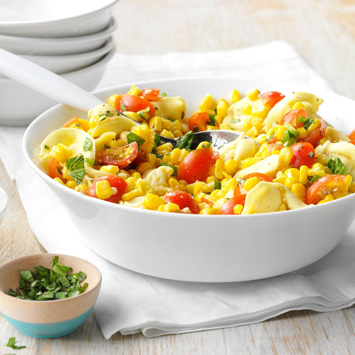 Cheese Tortellini with Tomatoes and Corn image