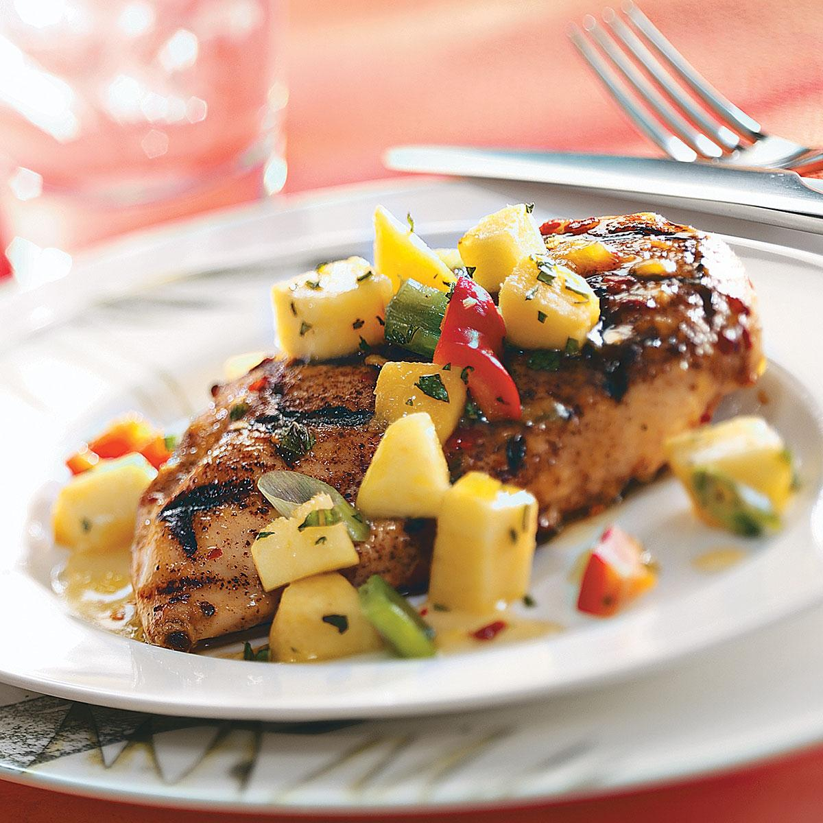 Spicy Chicken Breasts with Pepper Peach Relish image