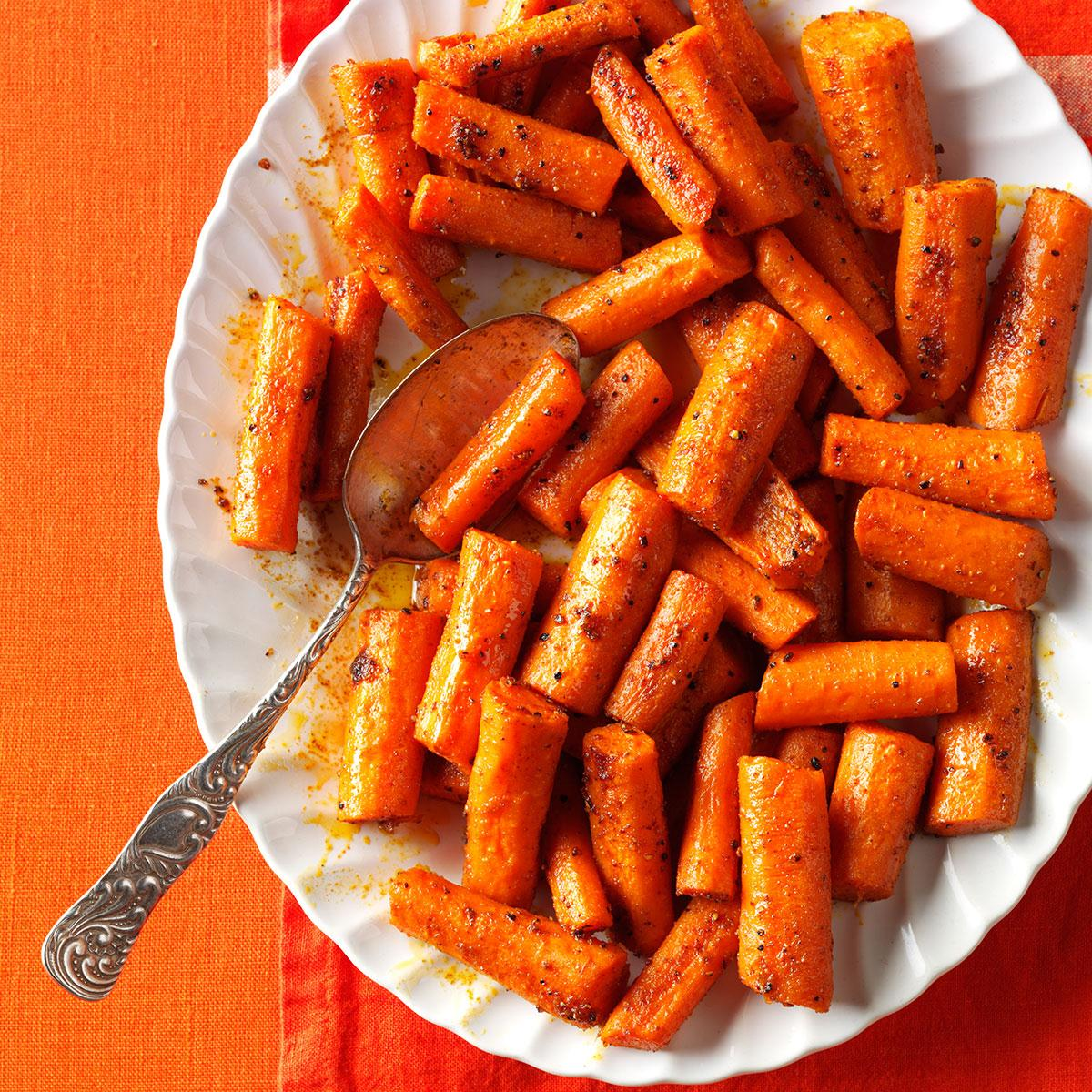 Oven Roasted Spiced Carrots Recipe How To Make It Taste Of Home