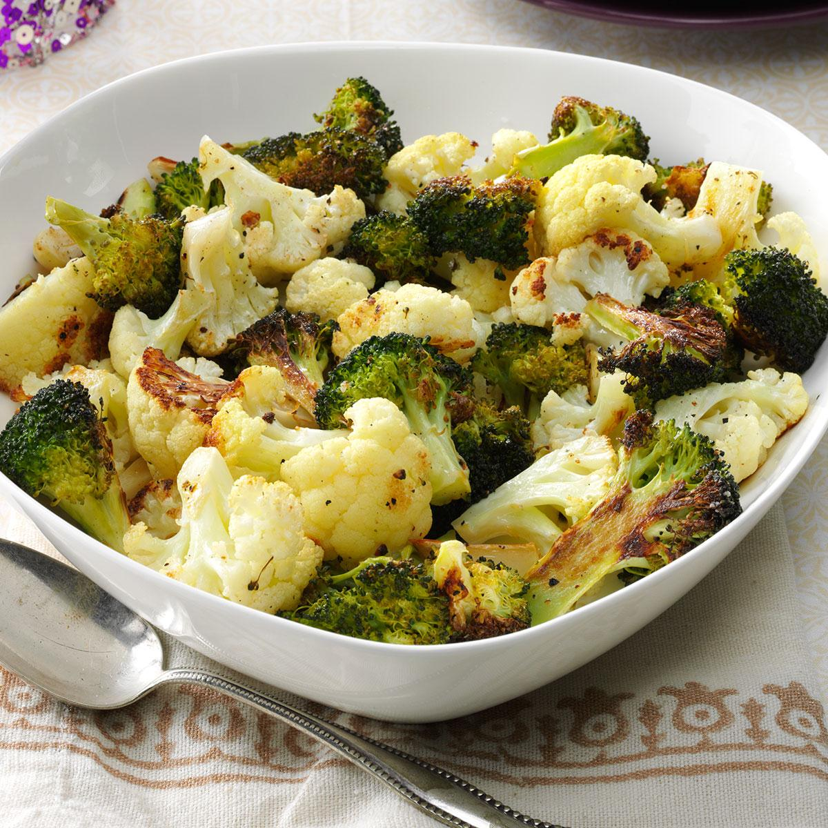 Roasted Broccoli Cauliflower Recipe How To Make It Taste Of Home
