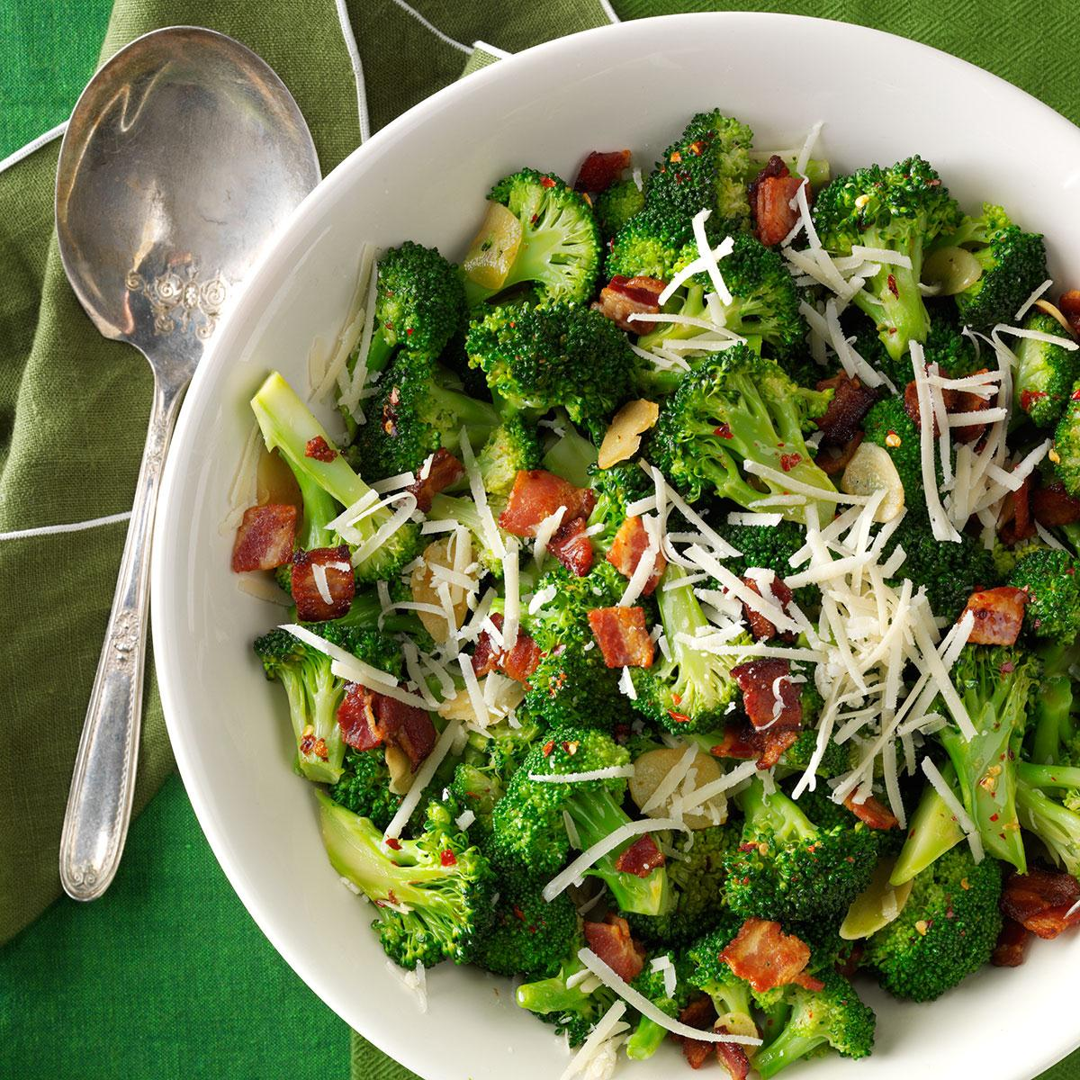 Broccoli With Garlic Bacon Parmesan Recipe How To Make It Taste Of Home