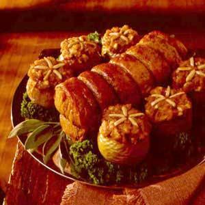 Pork Loin Roast with Yam-Stuffed Apples