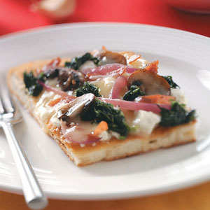 Spinach, Mushroom & Three-Cheese Pizza image