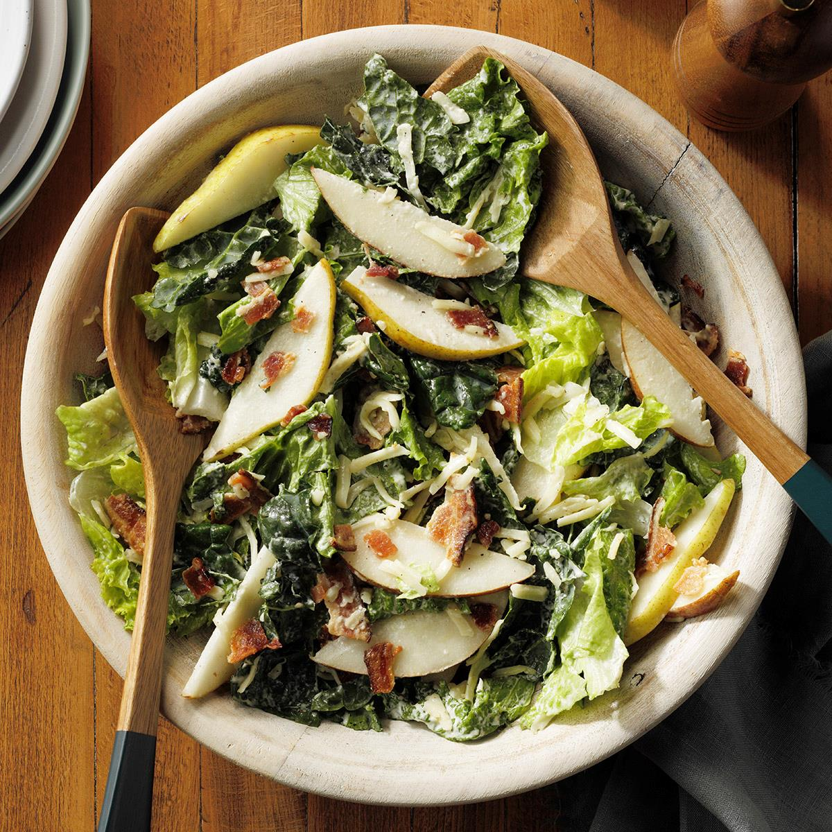 Bacon Pear Salad with Parmesan Dressing
