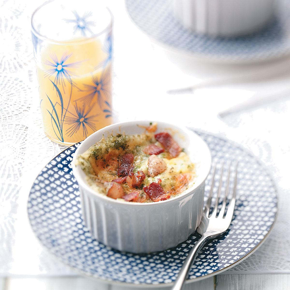 Baked Eggs with Cheddar and Bacon   Taste of Home