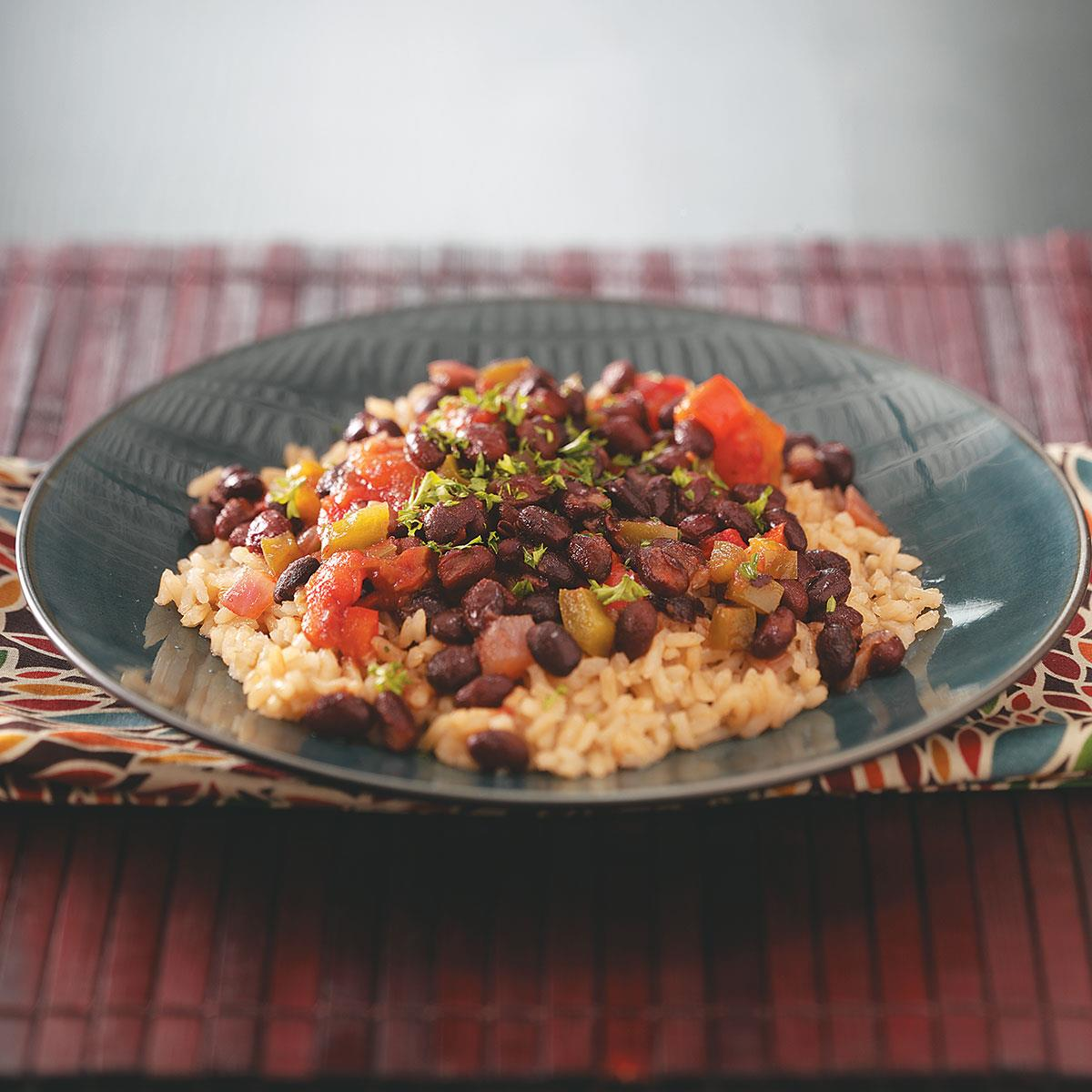 Black Beans With Brown Rice Recipe Taste Of Home