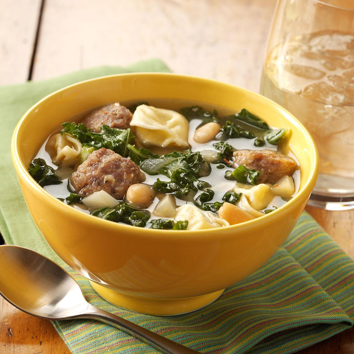 Cheese Tortellini and Kale Soup Recipe | Taste of Home