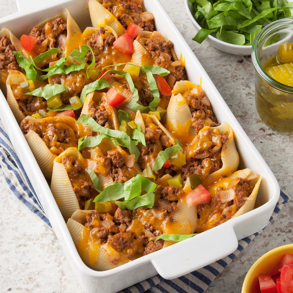 Cheeseburger Stuffed Pasta Shells