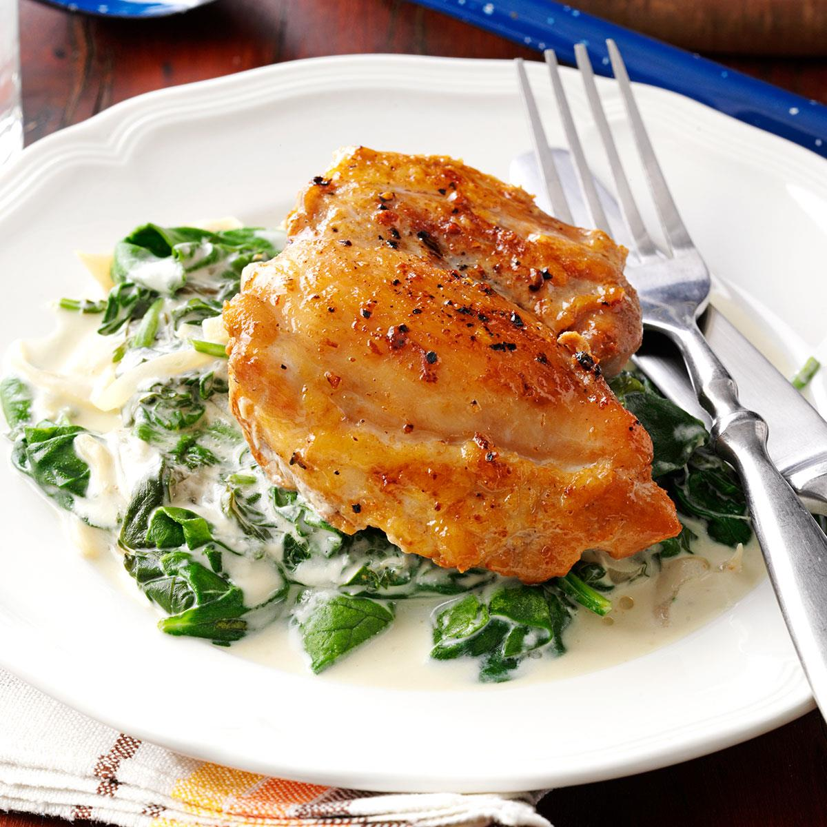 Chicken thighs with shallots spinach taste of home forumfinder Image collections