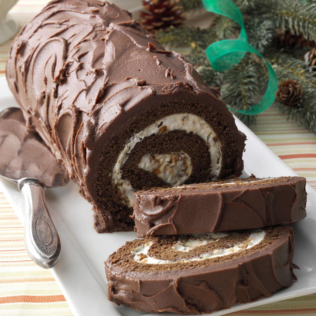 Chocolate Cake Roll with Praline Filling Taste of Home