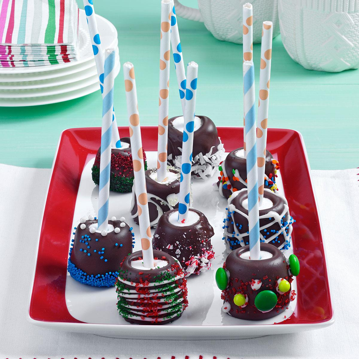 Chocolate Topped Marshmallow Sticks Recipe Taste Of Home