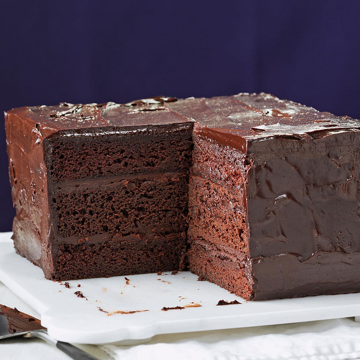 Deep Dark Ganache Cake Recipe Taste Of Home