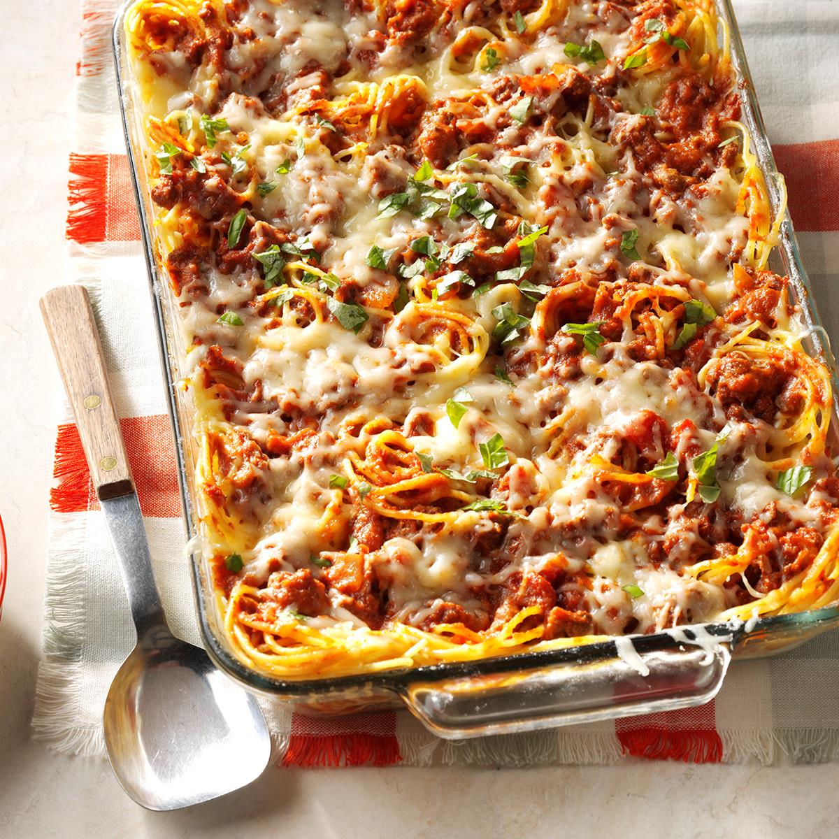 favorite baked spaghetti recipe taste of home rh tasteofhome com