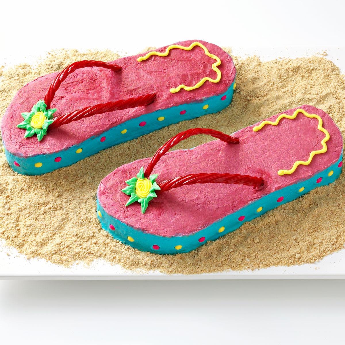 Incredible Flip Flop Cakes Recipe Taste Of Home Birthday Cards Printable Inklcafe Filternl