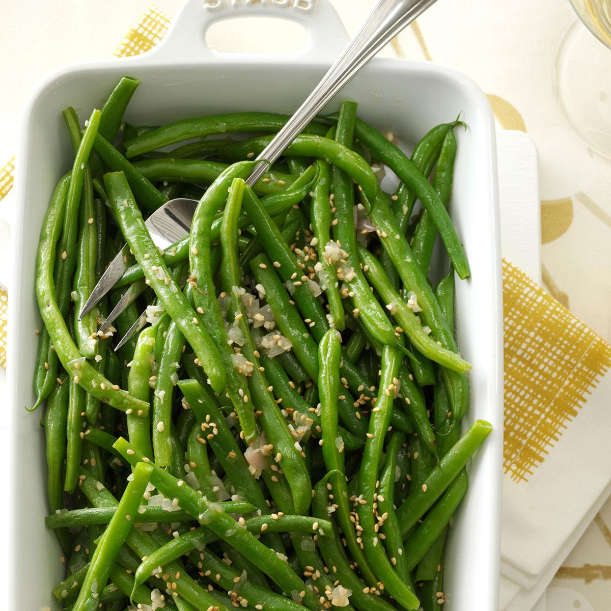 Green Beans Tossed With Shallots and Sesame
