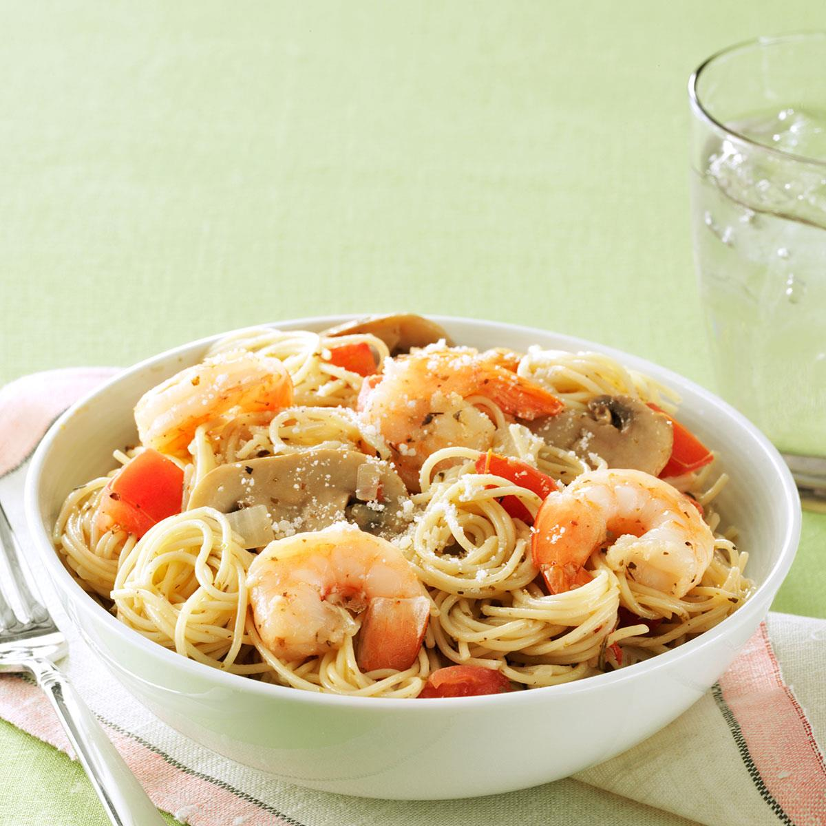 Garlic Shrimp Mushroom Pasta Recipe Taste Of Home