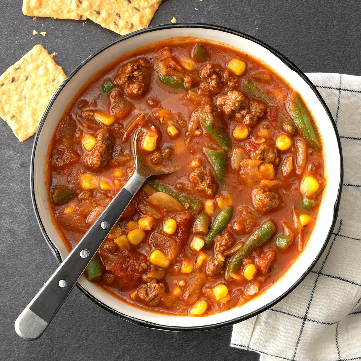 Hearty Beef Veggie Soup Recipe Taste Of Home