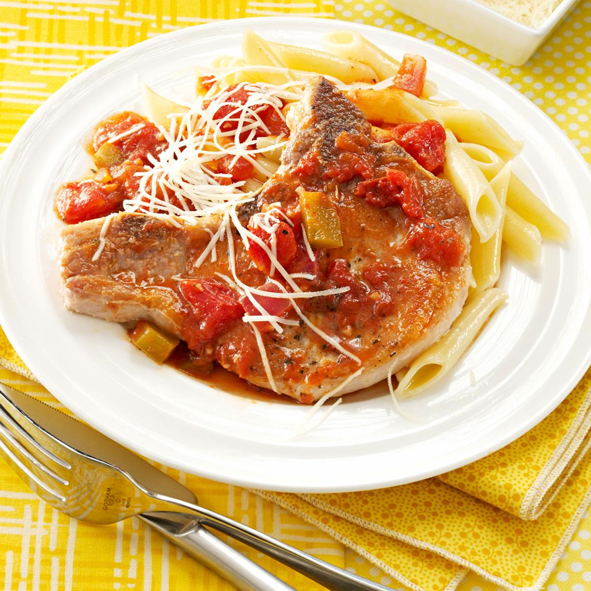 italian chops with pasta recipe taste of home