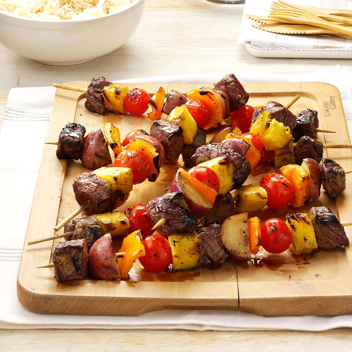 meat 'n' potato kabobs recipe | taste of home