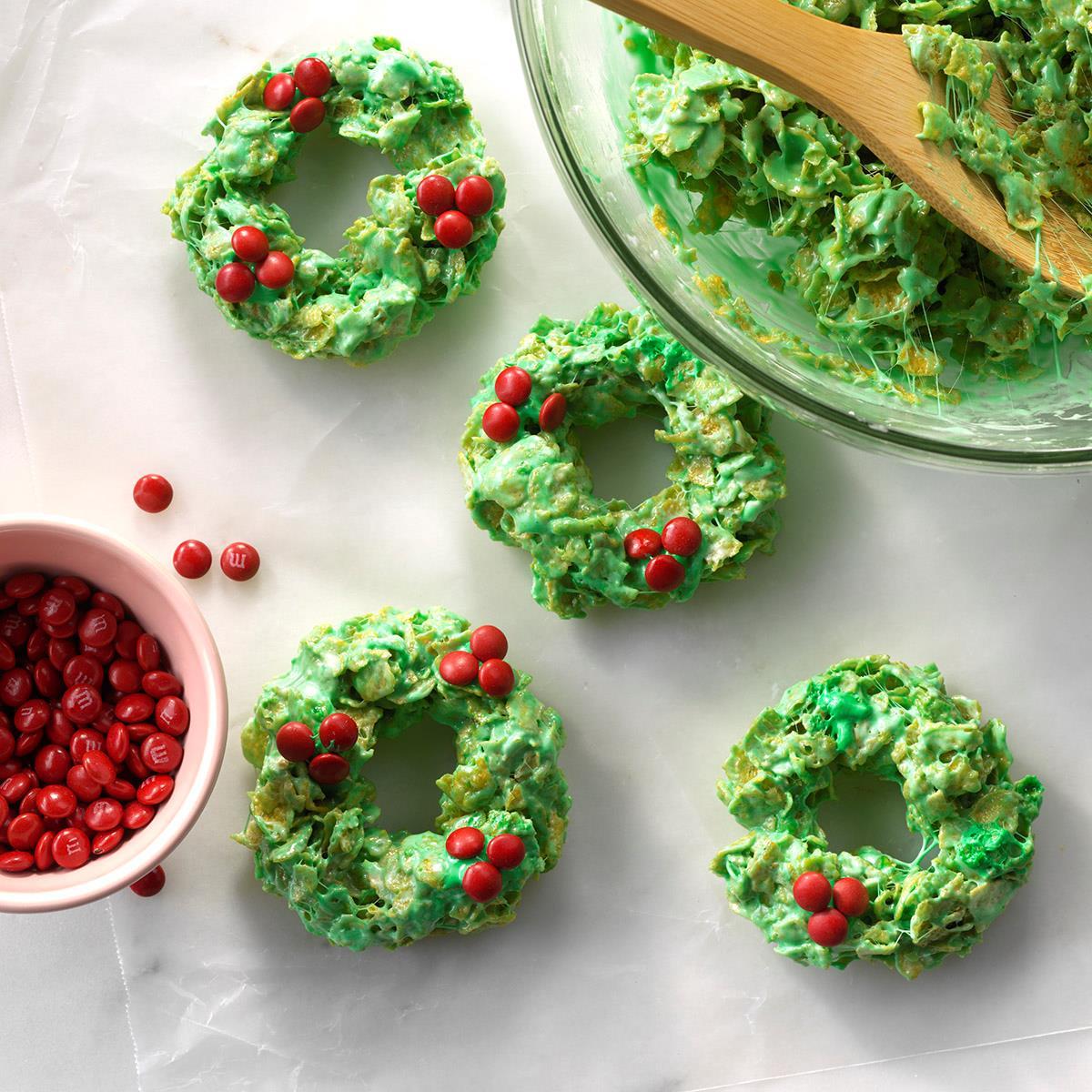 no bake christmas wreath treats recipe taste of home