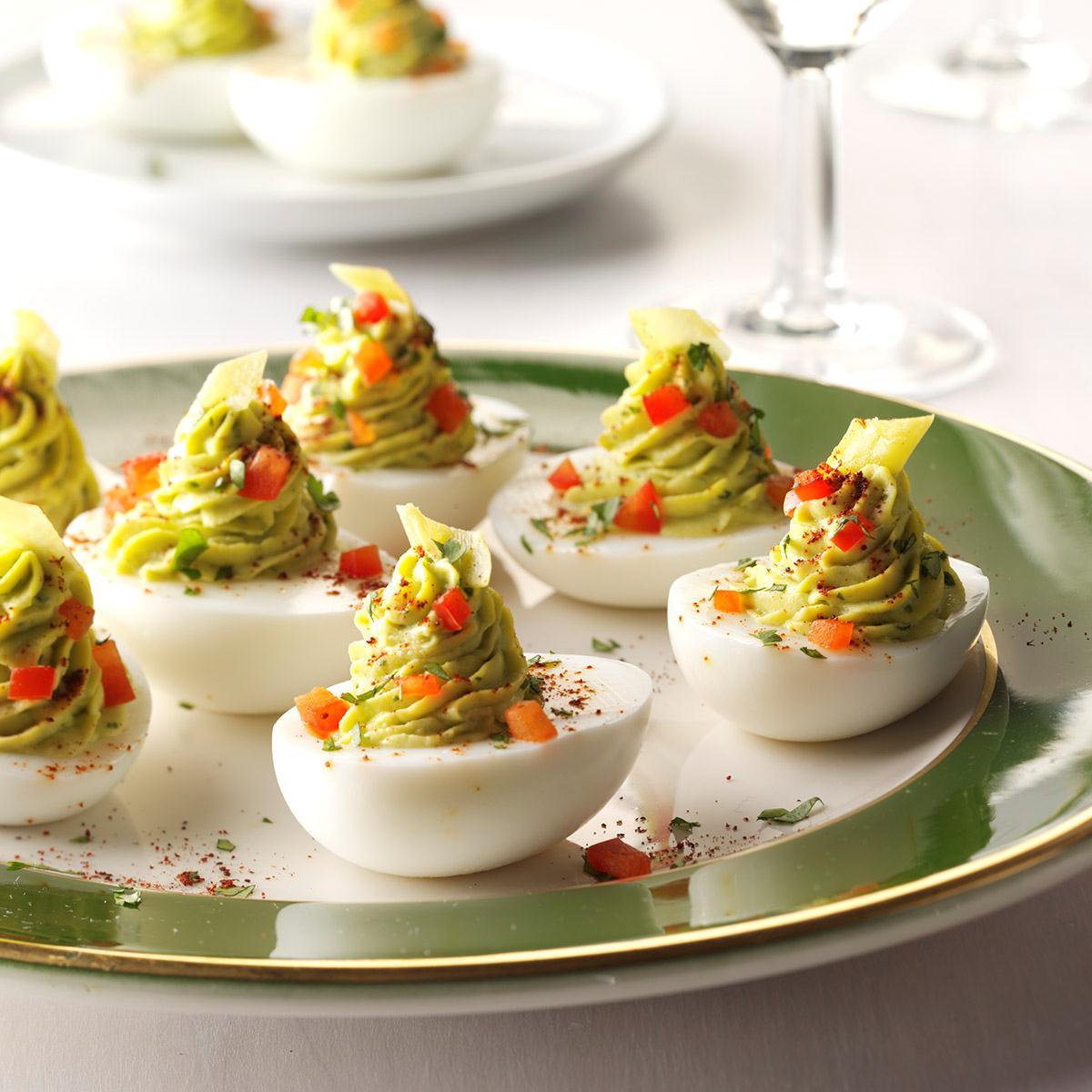 pickled pepperoncini deviled eggs recipe taste of home - Christmas Deviled Eggs