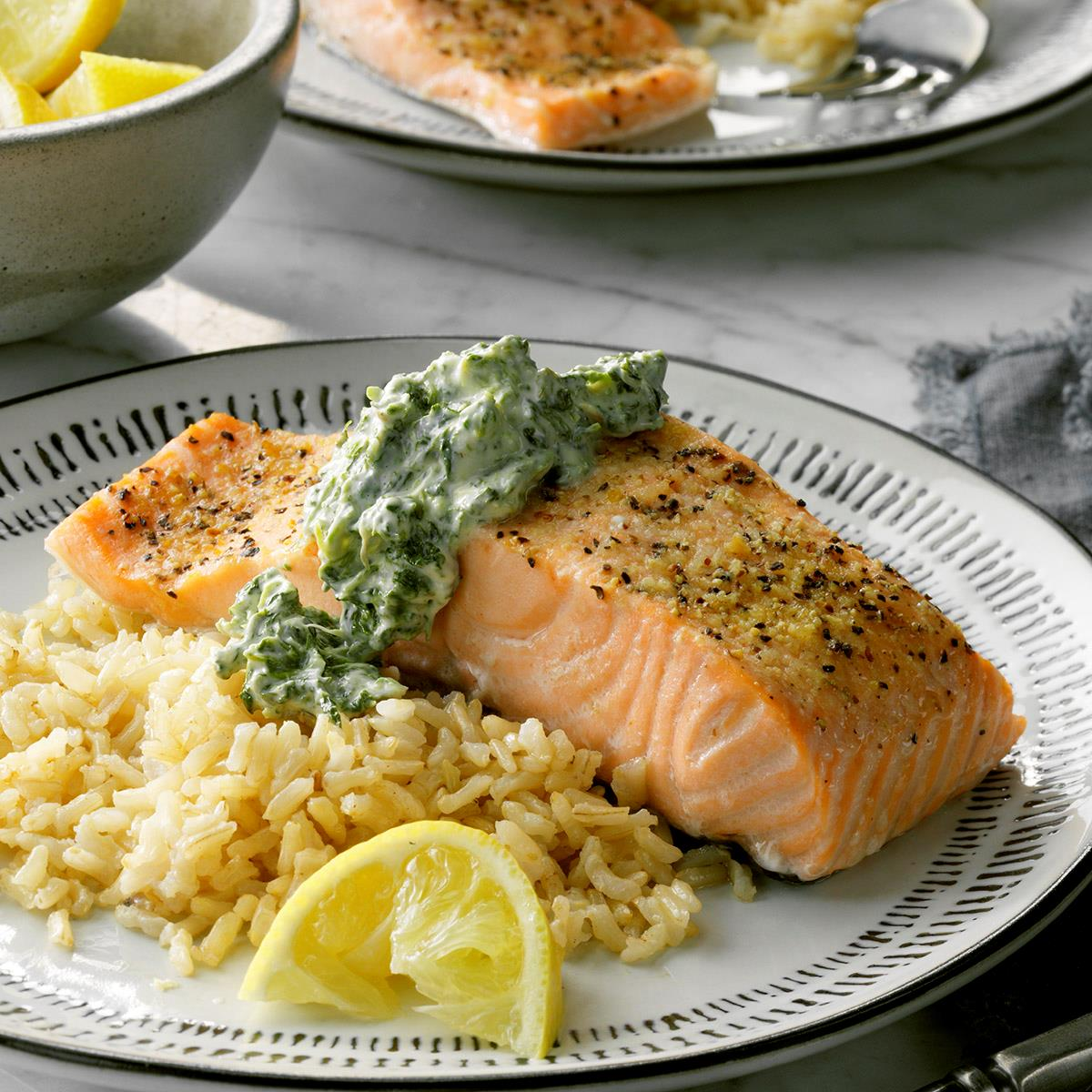Salmon with Spinach Sauce