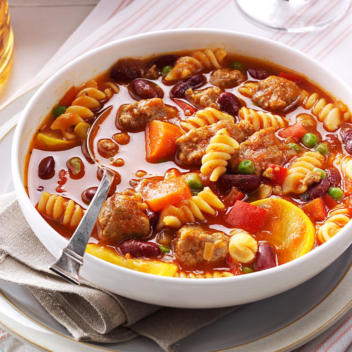 sausage pasta stew recipe | taste of home