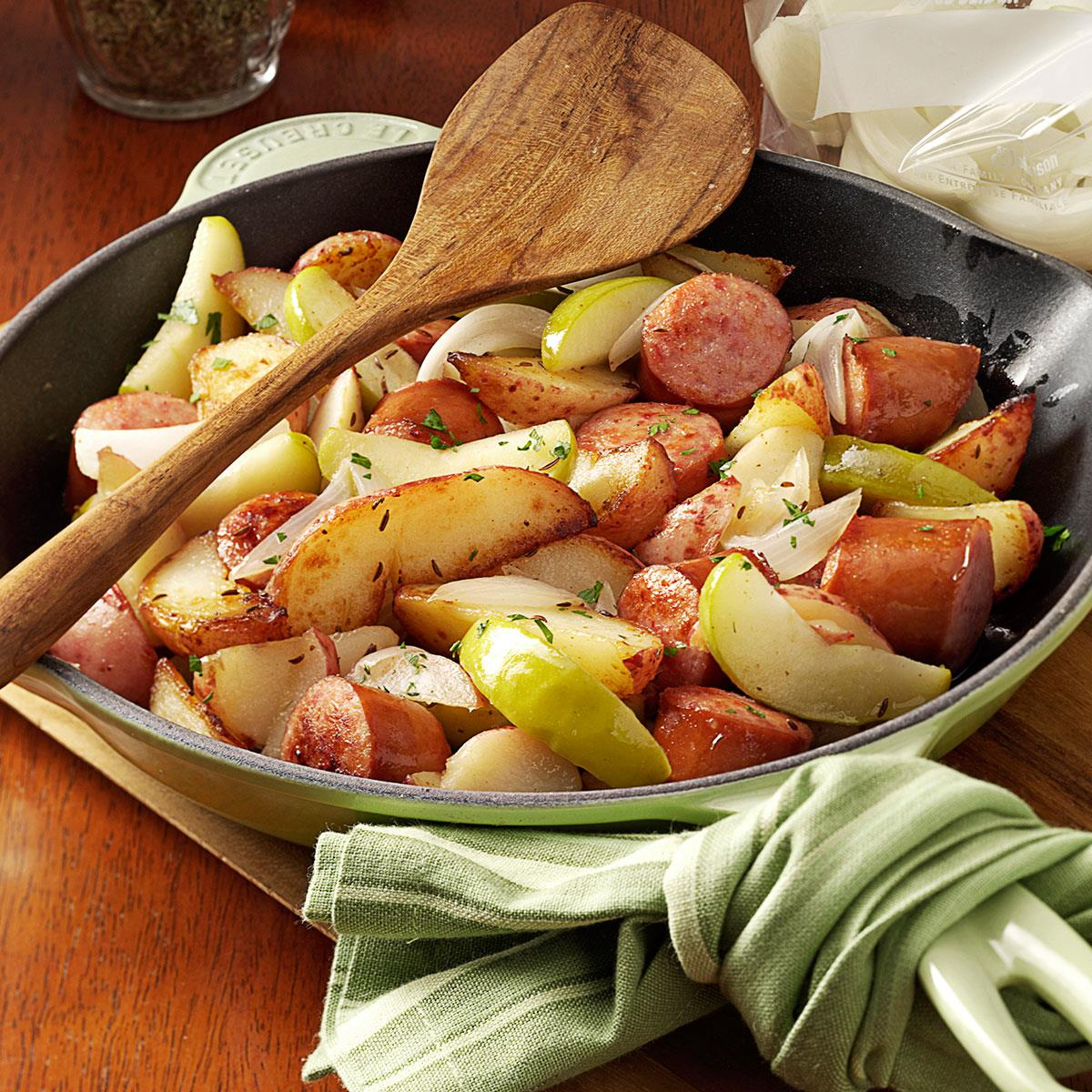 sausage skillet dinner recipe | taste of home