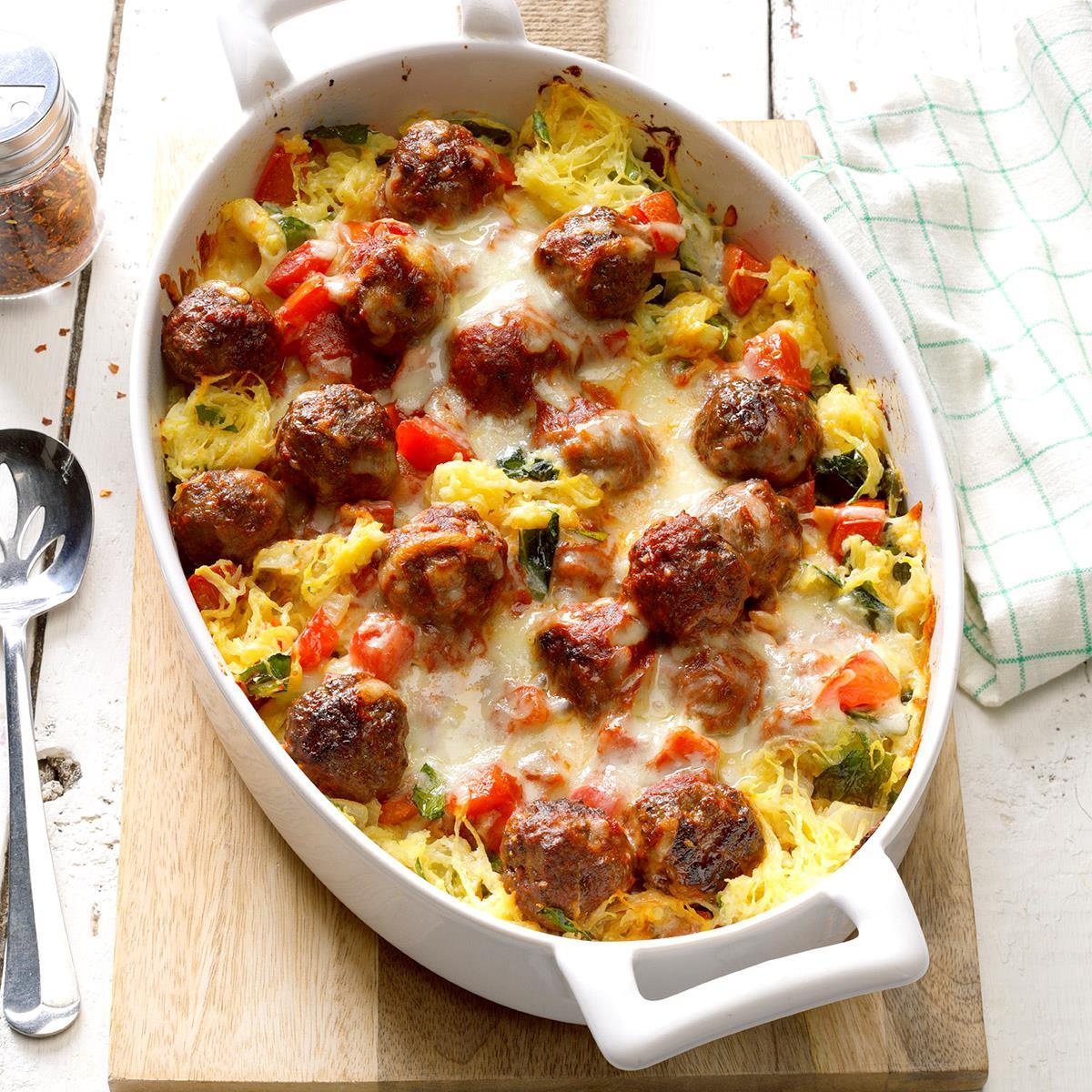 Spaghetti Squash Meatball Casserole Recipe Taste Of Home