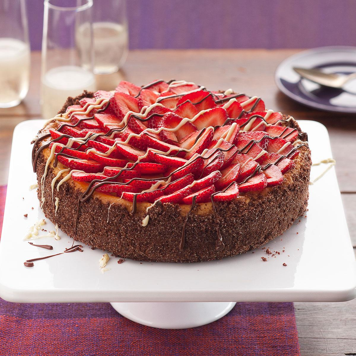 Astonishing Strawberries And Champagne Cheesecake Recipe Taste Of Home Funny Birthday Cards Online Barepcheapnameinfo