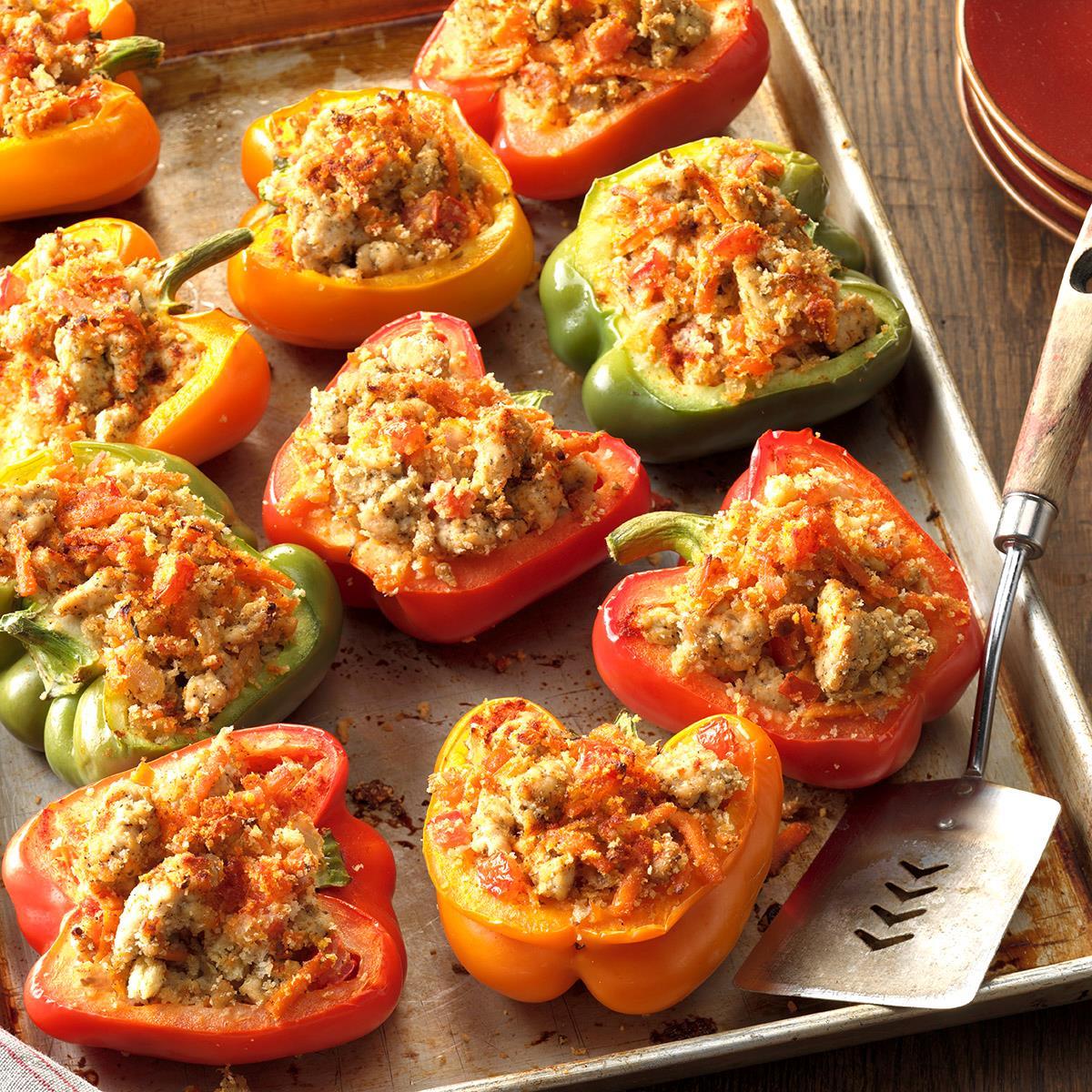 turkey stuffed bell peppers recipe taste of home