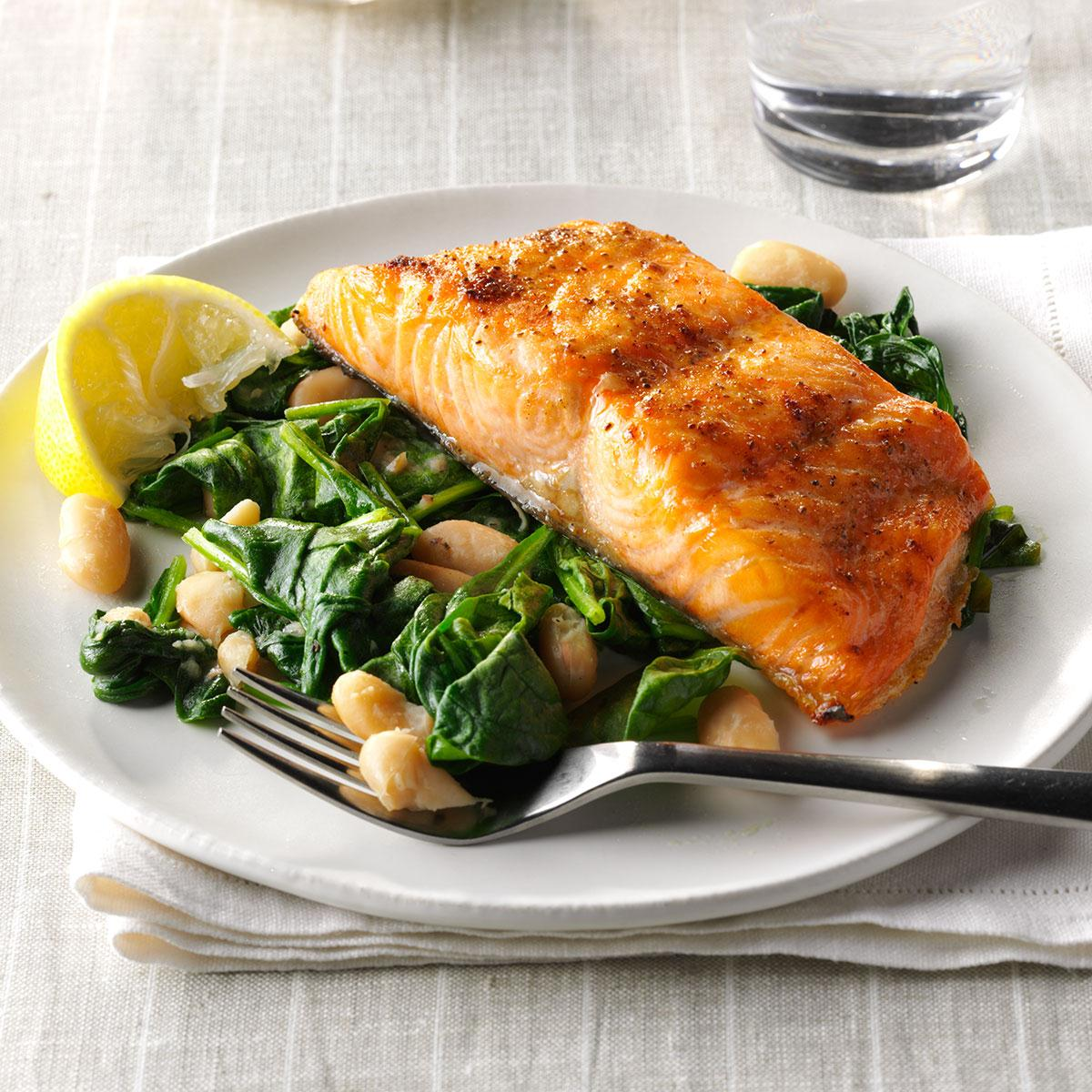 Salmon With Spinach White Beans Recipe Taste Of Home