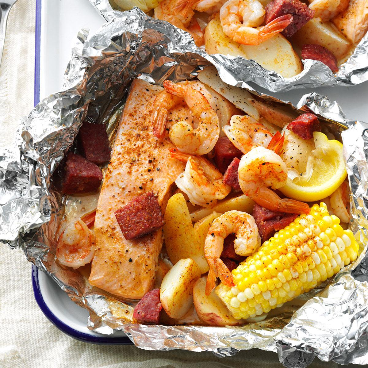 cajun boil on the grill recipe | taste of home