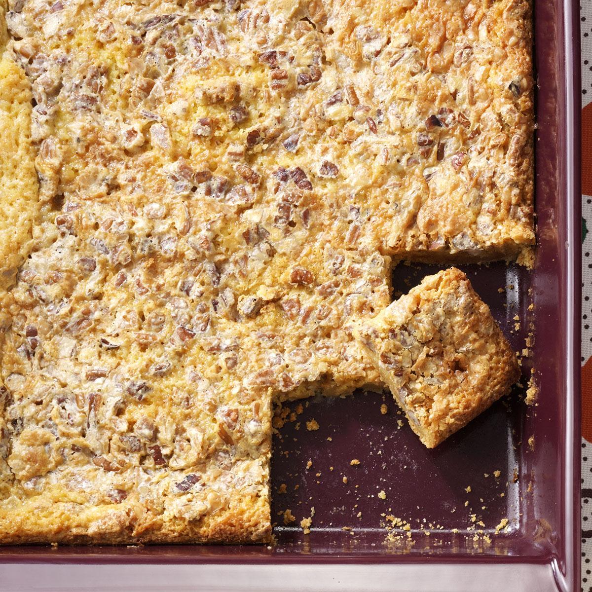 Caramel-Pecan Dream Bars Recipe | Taste of Home