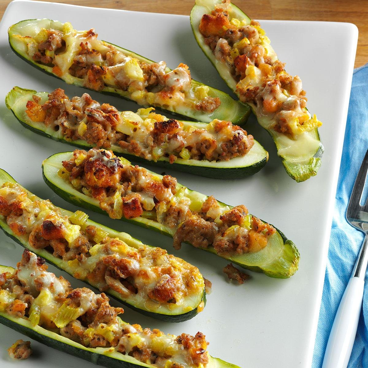 Turkey Sausage Zucchini Boats Recipe Taste Of Home